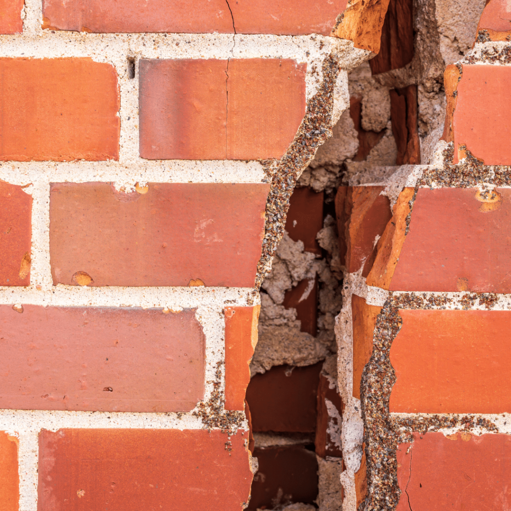 Example of a cracked brick wall
