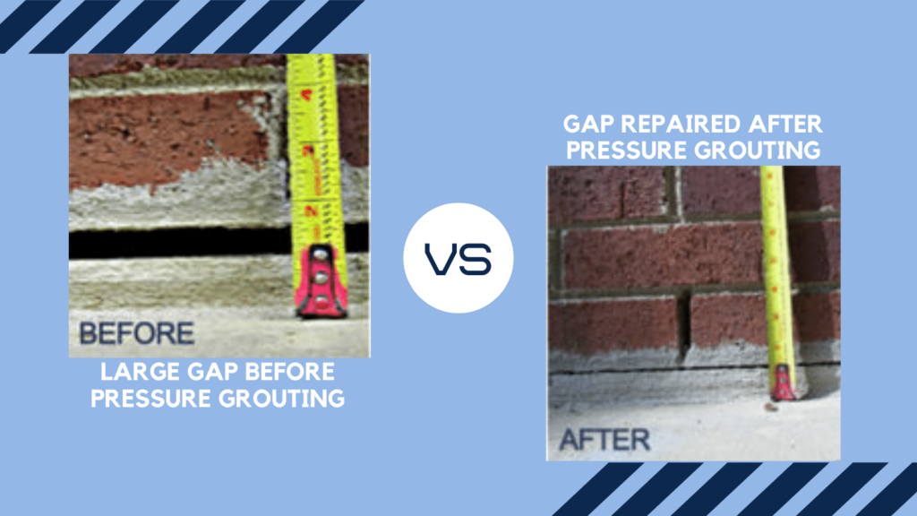 Before and after photos of pressure grouting